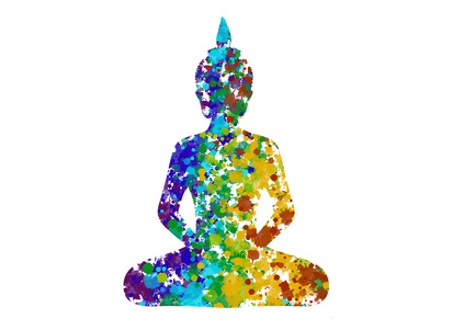 Meditating Buddha posture in rainbow colors